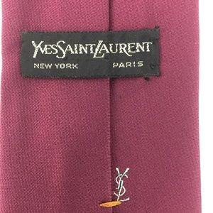 YSL Yves Saint Laurent Logo Solid Maroon 100% Silk